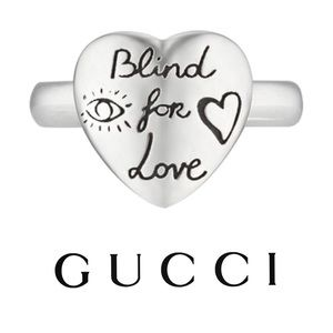 Gucci Silver 'Blind For Love' Heart Ring NWT 6.75